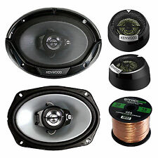 "KFCST01 13/16"" Kenwood Component Tweeter, 50FT Speaker Wire, 6x9"" 400W Speakers"