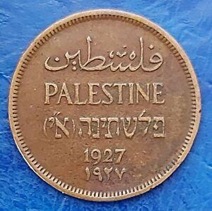 Israel Palestine British Mandate 1 Mil 1927 Bronze Coin VF