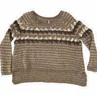 FREE PEOPLE~Nubby Fuzzy~Sz S-Fairisle Nordic Pullover Sweater~Chunky Cable Knit