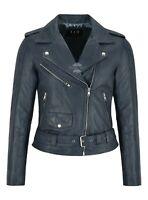 Ladies Perfecto Leather Jacket Slim Fit Biker Rock Top Real LEATHER Jacket MB124