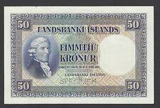 Iceland Landsbanki Islands 50 kronur L1928  P29pr Specimen Proof Uniface UNC-UNC