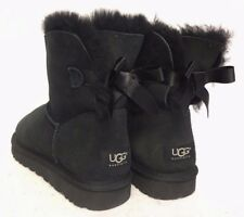 UGG Australia MINI BAILEY BOW BLACK SUEDE SHEEPSKIN BOOTS WOMENS 1005062 short
