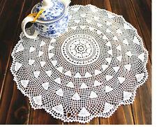 Vintage Style Fine Yarn Hand Crochet Floral White Round Cotton Doily 38cm