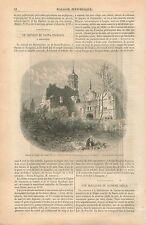 Ruines Eglise des Saints-Martyres de Santa-Engracia Saragosse GRAVURE PRINT 1854