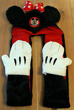 New Disney Parks MINNIE MOUSE Ears Plush Hat with Scarf Mittens - Adult Size