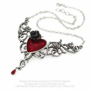 Jewelry/Necklace/Pendant - Pewter/Swarovski - Gothic/Mystic - Blood Rose Heart