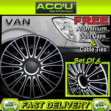 "Mercedes Benz Sprinter Van 16"" Black Silver Curved Wheel Trims Hub Caps Covers+F"