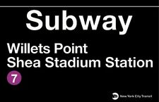 Willets Point Shea Stadium  New York City Subway Station Sign Metal