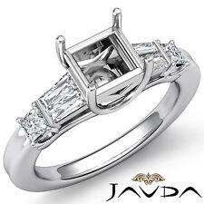 Diamond 3 Stone Wedding Ring 18k White Gold Princess Baguette Semi Mount 0.5Ct