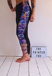 Scarlett leggings black with rose print and criss cross detail  gym activewear