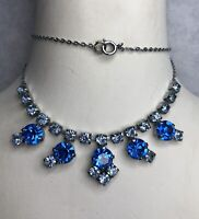 1950s Style Bib Necklace Glass Paste Stones Blue Silver Coloured Metal Vintage