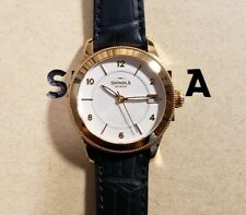 Shinola Gail Watch with 36mm White Textured Face & Navy Blue Leather Band