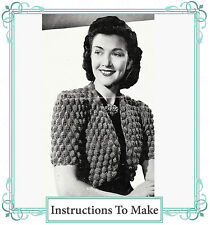Vintage Visage Knitting Pattern-How to make a 1940s ladies bolero shrug