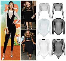 Women's Stretchy Turtle Neck Mesh Cropped Vest Ladies Bodysuit Sexy Sheer Top