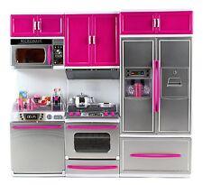 Kids Dollhouse Kitchen Playset Refrigerator Stove Microwave Oven Pink Psk54