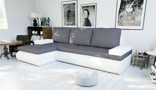 corner sofa bed bonnel  living room white leather grey fabric storage