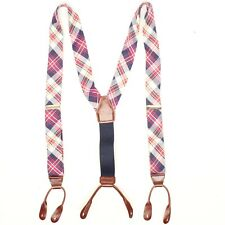 Mens Cotton Madras Braces Suspenders Adjustable Red White Blue Plaid Spring