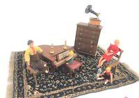 Dollhouse Miniature Music Room Shackman Piano Bendy 4 Doll Family 13 pc Rug Vtg