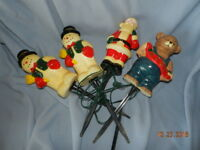 VTG CHRISTMAS BLOW MOLD LIGHT TOPPERS DYNAGOOD 1997 Lot Of 4 snowman santa bear