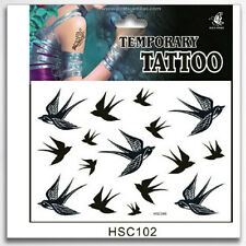 Unisex Waterproof Realistic Black Temporary Art Tattoo Swallow Birds Mens Womens