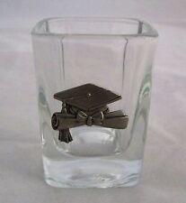 HAPPY GRADUATION SQUARE College 1.5 oz Shot glass Original Pewter Cap and Gown