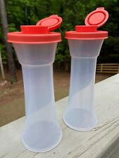 Limited Edition Tupperware Large Hourglass Salt & Pepper Shaker Set CORAL Last 1