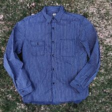 Momotaro Vintage Style Chinstrap Striped Work Shirt Japan Size 44