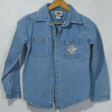 Vintage Harley Davidson Shirt Denim Jean Motorcyle Top Kids Patch Cotton Size 8