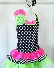 Dance Costume Jazz Tap Child Intermed (Size 7) Hot Pink Lime Green Headpiece Inc