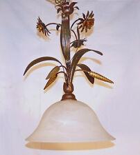 LAMPADA SOSPENSIONE LAMPADARIO ART.770 MADE IN ITALY FERRO BATTUTO VETRO NUOVA