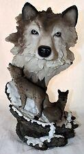 """15"""" Resin Wolf & Cubs Head Bust Statue Figure Sculpture"""