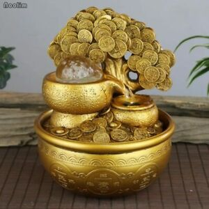 Gold Money Tree Water Fountain Ornaments Feng Shui Transfer Ball Waterscape
