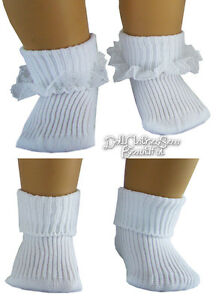 2 Pair Socks 1 PR of Lace Trim & 1 PR of Anklets for  American Girl Doll Clothes