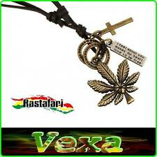 RASTA REGGAE Necklace Pendant Ganja Cannabis Cross Rings Plate Leather surf NK17