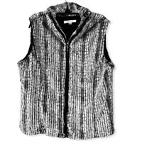 Erin London Womens Faux Fur Vest Black Gray Zip Up Lined Sleeveless  L