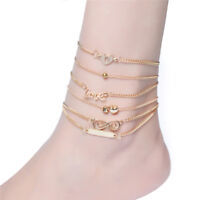 6PCS/Set Boho Multilayer Heart Infinity Anklet Foot Chain Ankle Bracelet FT