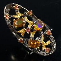 Orange Opal Ring Silver 925 Sterling Beauty Rainbow6x4mm Size 7 /SRT18-18-3