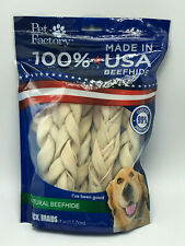 Pet Factory 78105 100% American Beefhide 7-8 inch Braided Rawhide Sticks NEW