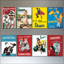 Vintage Italian scooter Vespa Lambretta motorbike adverts 8 fridge magnets