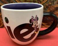 Large Minnie Mouse Mug Disney Parks 20 Oz Purple White Black Cup.