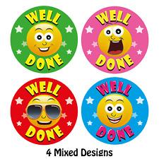 144 x Well Done Reward Stickers, Smile face, School Teachers Award, Parents Kids