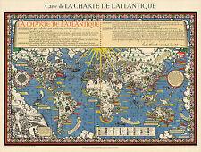 The Atlantic Charter Carte de la charte de l'Atlantique Stereographic Projection