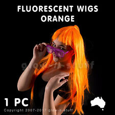 1 X FLUORESCENT WIG ORANGE UV REACTIVE STRAIGHT GLOW PARTY DISCO NEON FLURO