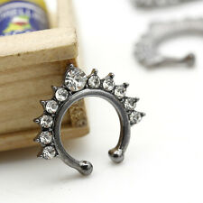 Black Gold Plated Non-Pierced Septum Stud Nose Rings Fashion Women Body Jewelry