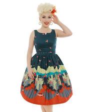 BNWT Lindy Bop UK 10 Delta LA Print Teal Cotton 50's Rockabilly Swing Jive Dress