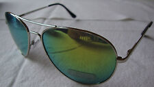 Aviator Mirrored Sunglasses Silver Frame Metallic Yellow Green Lens Womens Mens
