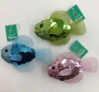 Glitter Fish Christmas Ornaments 6in Your Choice of Color Pink Green or Blue