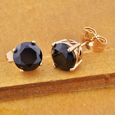 Mens black onyx stud earrings boy earings piercing small Punk ear ring 8mm