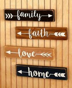 Set of 4 Wooden Wall Plaques Family Faith Love Home NEW