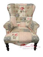 Beautiful Bespoke Patchwork Linen Button Back Armchair Chair